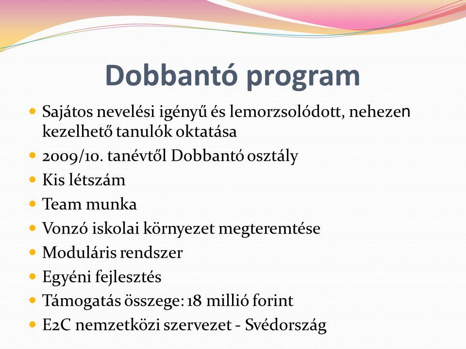 Dobbantó program Sajátos nevelési igényű és lemorzsolódott, neheze n kezelhető tanulók oktatása 2009/10. tanévtől Dobbantó osztály Kis létszám Team mu