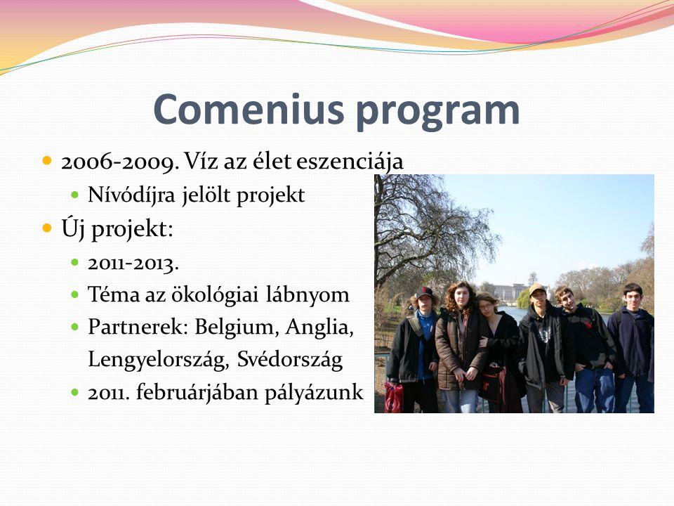 Comenius program 2006-2009. Víz az élet eszenciája Nívódíjra jelölt projekt Új projekt: 2011-2013. Téma az ökológiai lábnyom Partnerek: Belgium, Angli