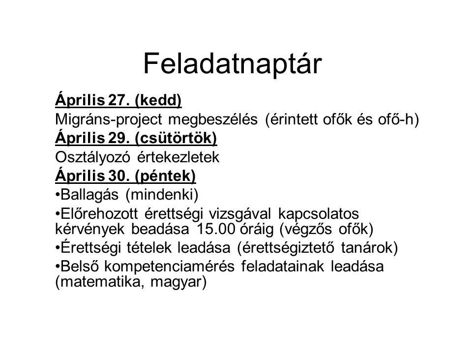Feladatnaptár Április 27. (kedd) Migráns-project megbeszélés (érintett ofők és ofő-h) Április 29. (csütörtök) Osztályozó értekezletek Április 30. (pén