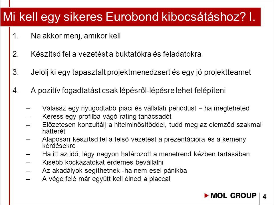 Mi kell egy sikeres Eurobond kibocsátáshoz? I. 1.Ne akkor menj, amikor kell 2.Készítsd fel a vezetést a buktatókra és feladatokra 3.Jelölj ki egy tapa