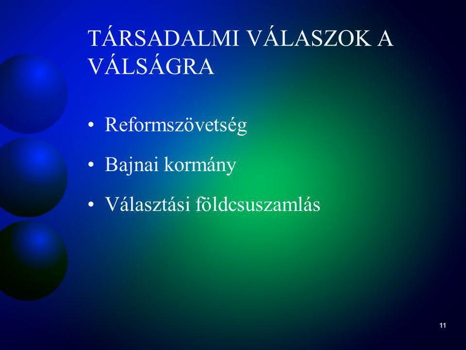 11 TÁRSADALMI VÁLASZOK A VÁLSÁGRA Reformszövetség Bajnai kormány Választási földcsuszamlás