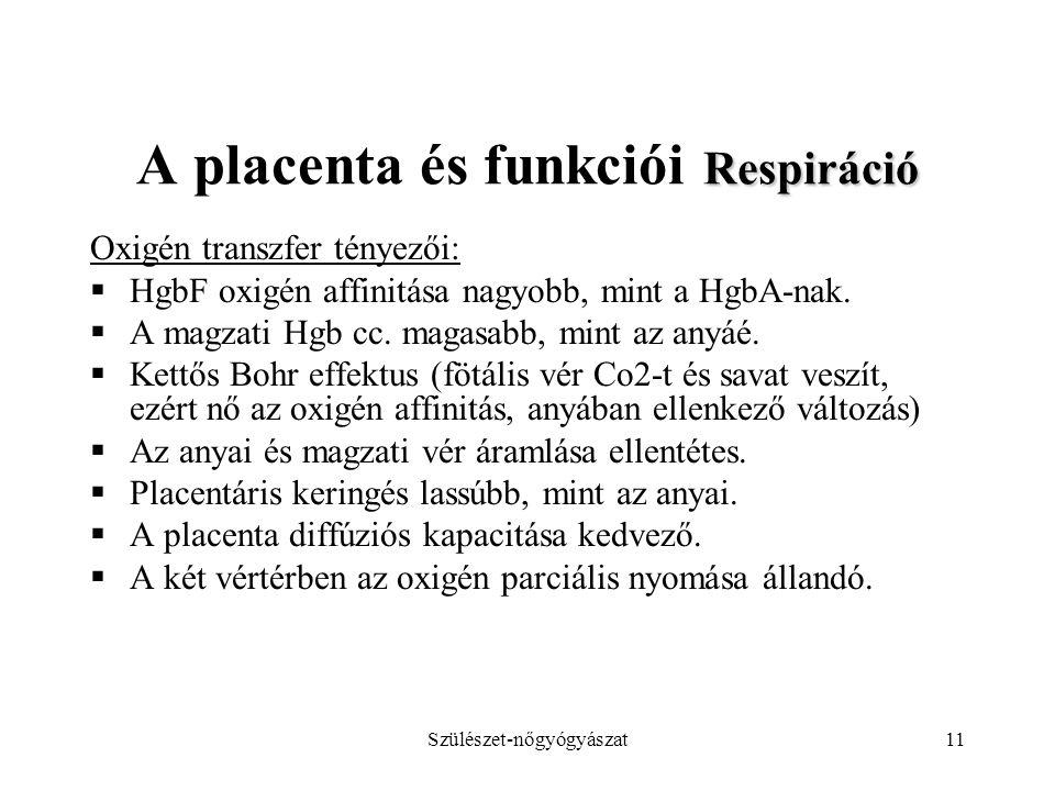 Szülészet-nőgyógyászat11 Respiráció A placenta és funkciói Respiráció Oxigén transzfer tényezői:  HgbF oxigén affinitása nagyobb, mint a HgbA-nak. 