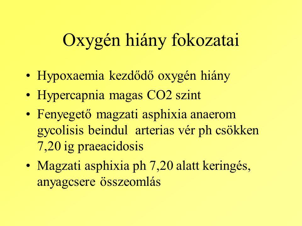 Oxygén hiány fokozatai Hypoxaemia kezdődő oxygén hiány Hypercapnia magas CO2 szint Fenyegető magzati asphixia anaerom gycolisis beindul arterias vér ph csökken 7,20 ig praeacidosis Magzati asphixia ph 7,20 alatt keringés, anyagcsere összeomlás