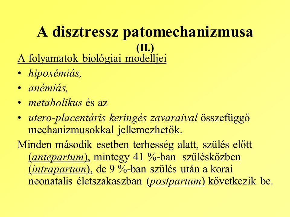 A disztressz patomechanizmusa (II.) A folyamatok biológiai modelljei hipoxémiás, anémiás, metabolikus és az utero-placentáris keringés zavaraival összefüggő mechanizmusokkal jellemezhetők.