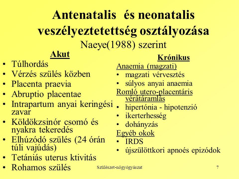 Szülészet-nőgyógyászat8 Magzati disztressz állapotok osztályozása (I.) Préplacentáris (anyai) okok A vér elégtelen oxigenizációja.
