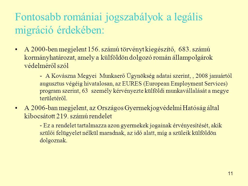 11 Fontosabb romániai jogszabályok a legális migráció érdekében: A 2000-ben megjelent 156. számú törvényt kiegészítő, 683. számú kormányhatározat, ame