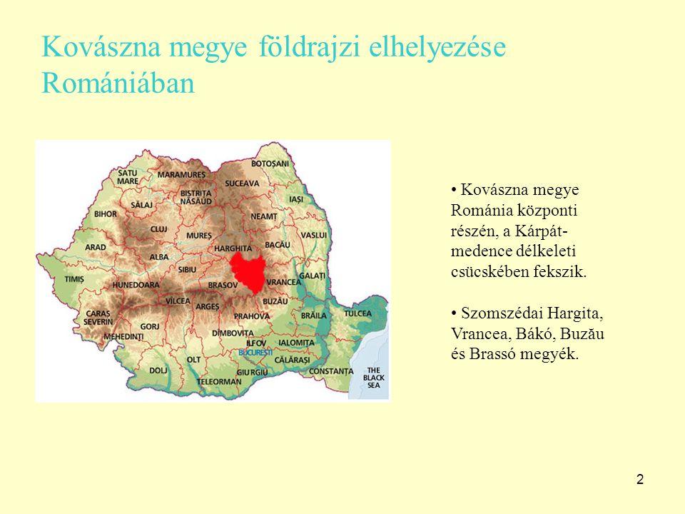 2 Kovászna megye földrajzi elhelyezése Romániában Kovászna megye Románia központi részén, a Kárpát- medence délkeleti csücskében fekszik. Szomszédai H