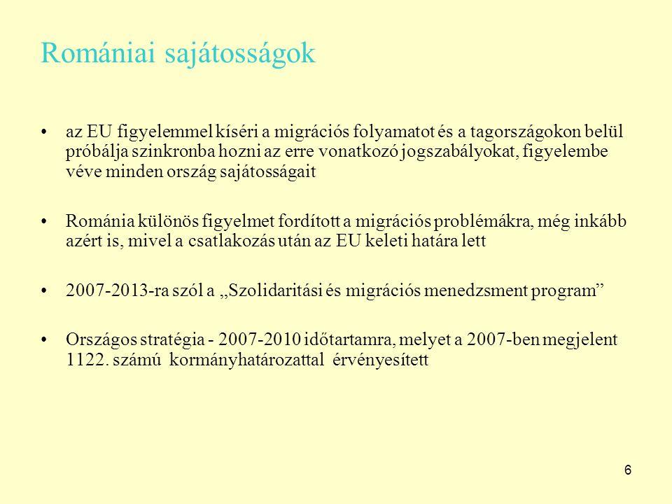 """6 Romániai sajátosságok az EU figyelemmel kíséri a migrációs folyamatot és a tagországokon belül próbálja szinkronba hozni az erre vonatkozó jogszabályokat, figyelembe véve minden ország sajátosságait Románia különös figyelmet fordított a migrációs problémákra, még inkább azért is, mivel a csatlakozás után az EU keleti határa lett 2007-2013-ra szól a """"Szolidaritási és migrációs menedzsment program Országos stratégia - 2007-2010 időtartamra, melyet a 2007-ben megjelent 1122."""