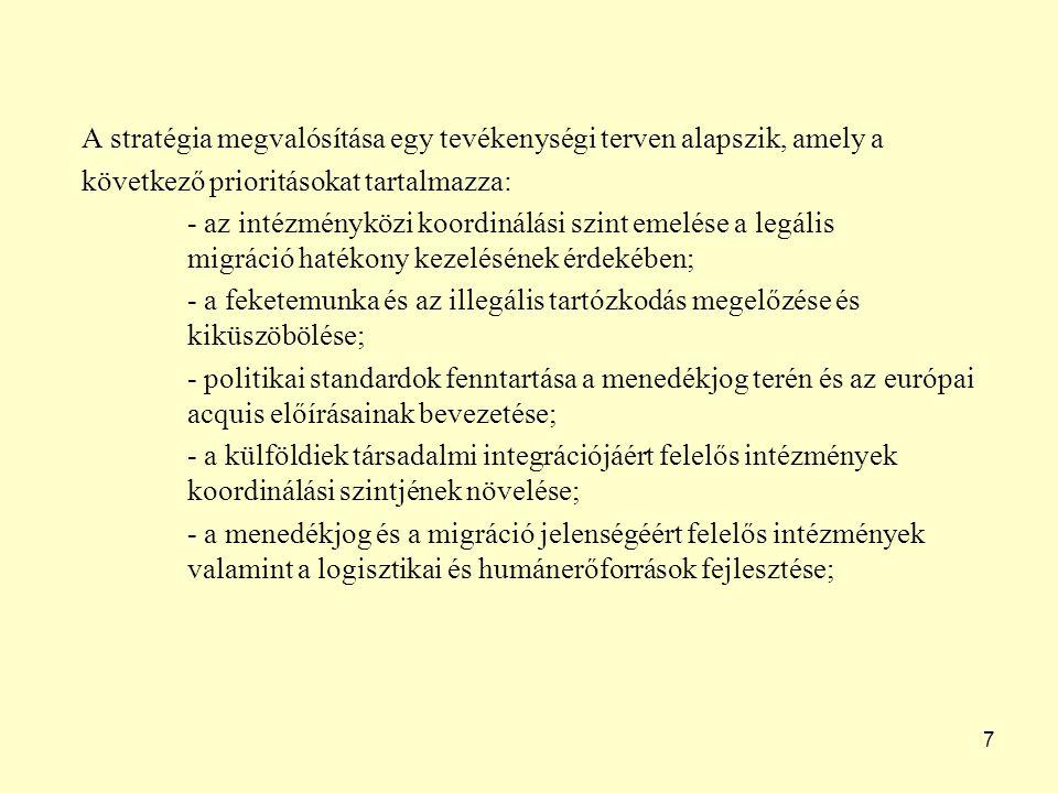 7 A stratégia megvalósítása egy tevékenységi terven alapszik, amely a következő prioritásokat tartalmazza: - az intézményközi koordinálási szint emelése a legális migráció hatékony kezelésének érdekében; - a feketemunka és az illegális tartózkodás megelőzése és kiküszöbölése; - politikai standardok fenntartása a menedékjog terén és az európai acquis előírásainak bevezetése; - a külföldiek társadalmi integrációjáért felelős intézmények koordinálási szintjének növelése; - a menedékjog és a migráció jelenségéért felelős intézmények valamint a logisztikai és humánerőforrások fejlesztése;