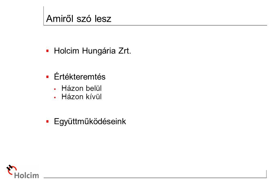 Amiről szó lesz  Holcim Hungária Zrt.