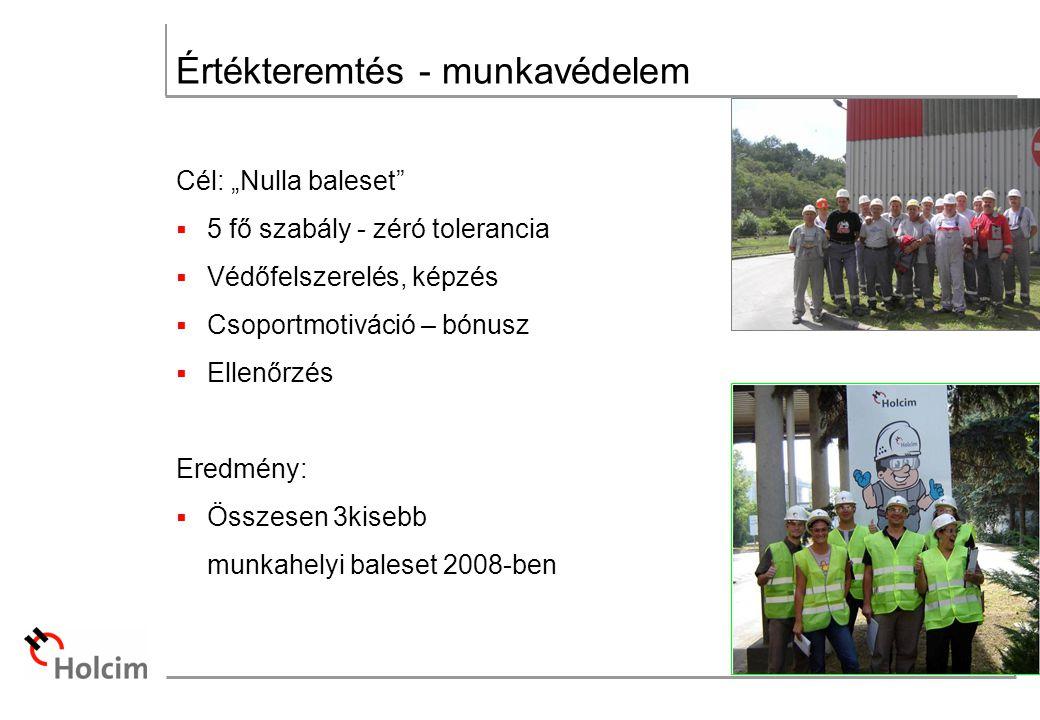 """Értékteremtés - munkavédelem Cél: """"Nulla baleset  5 fő szabály - zéró tolerancia  Védőfelszerelés, képzés  Csoportmotiváció – bónusz  Ellenőrzés Eredmény:  Összesen 3kisebb munkahelyi baleset 2008-ben"""