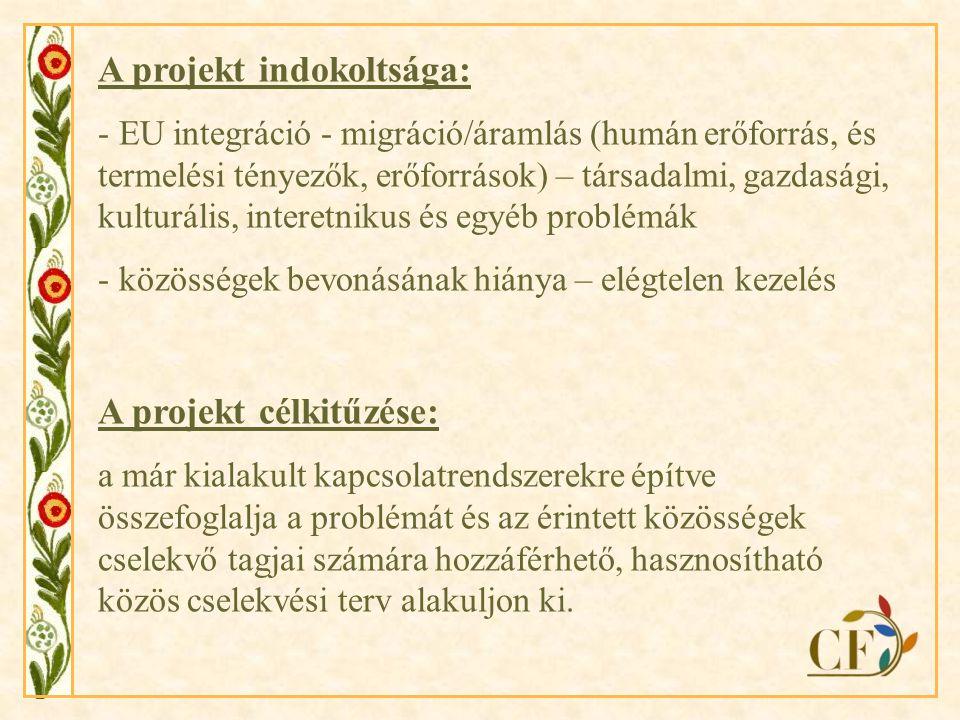 A projekt indokoltsága: - EU integráció - migráció/áramlás (humán erőforrás, és termelési tényezők, erőforrások) – társadalmi, gazdasági, kulturális, interetnikus és egyéb problémák - közösségek bevonásának hiánya – elégtelen kezelés A projekt célkitűzése: a már kialakult kapcsolatrendszerekre építve összefoglalja a problémát és az érintett közösségek cselekvő tagjai számára hozzáférhető, hasznosítható közös cselekvési terv alakuljon ki.