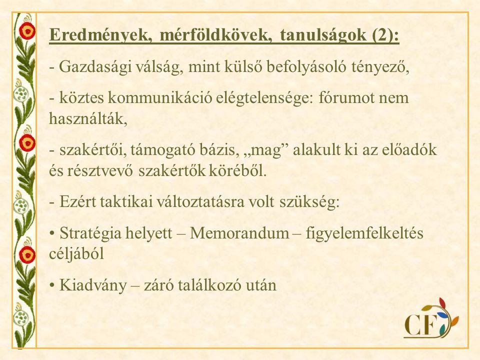 Eredmények, mérföldkövek, tanulságok (3): Kiadvány tervezett tartalma: - Projekt bemutatása - Probléma kifejtése, feltérképezése, szektoronkénti (3) és területi sajátosságai (Erdély, Felvidék, Kárpátalja, Magyarország) - Jó gyakorlatok bemutatása - Memorandum - Glosszárium - Partnerek