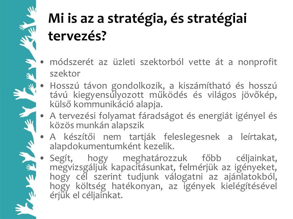 Mi is az a stratégia, és stratégiai tervezés? módszerét az üzleti szektorból vette át a nonprofit szektor Hosszú távon gondolkozik, a kiszámítható és
