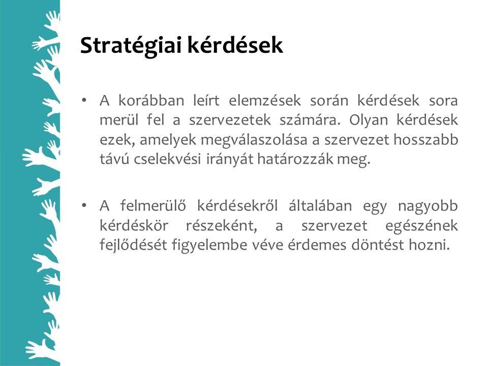 Stratégiai kérdések A korábban leírt elemzések során kérdések sora merül fel a szervezetek számára. Olyan kérdések ezek, amelyek megválaszolása a szer