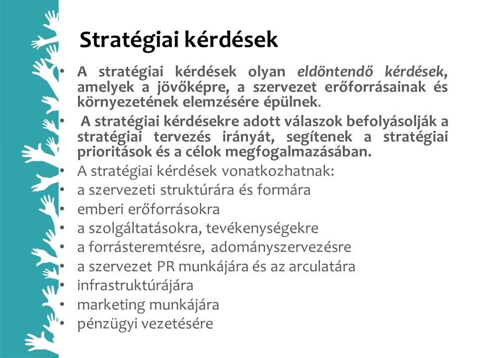 Stratégiai kérdések A stratégiai kérdések olyan eldöntendő kérdések, amelyek a jövőképre, a szervezet erőforrásainak és környezetének elemzésére épüln