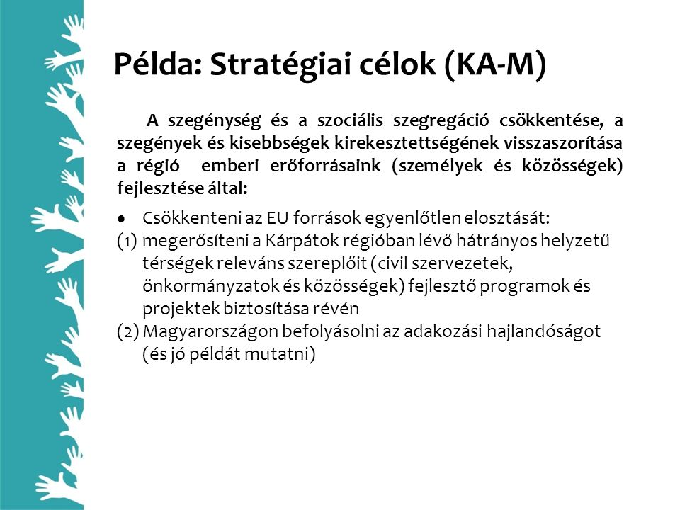 Példa: Stratégiai célok (KA-M) A szegénység és a szociális szegregáció csökkentése, a szegények és kisebbségek kirekesztettségének visszaszorítása a r