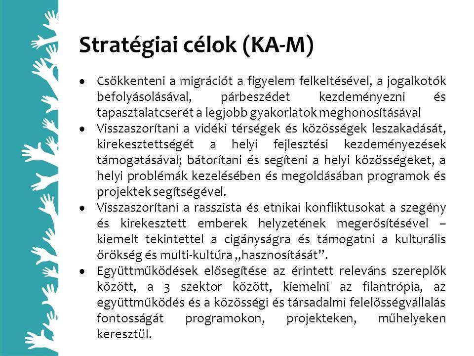 Stratégiai célok (KA-M)  Csökkenteni a migrációt a figyelem felkeltésével, a jogalkotók befolyásolásával, párbeszédet kezdeményezni és tapasztalatcse