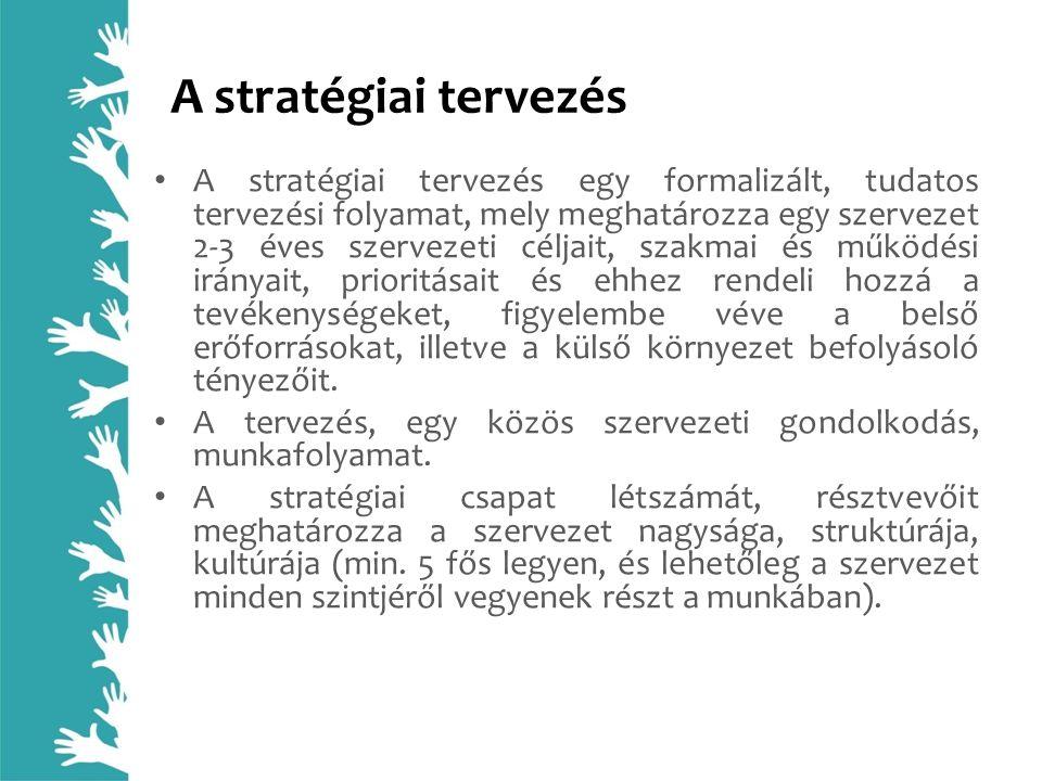 A stratégiai tervezés A stratégiai tervezés egy formalizált, tudatos tervezési folyamat, mely meghatározza egy szervezet 2-3 éves szervezeti céljait,