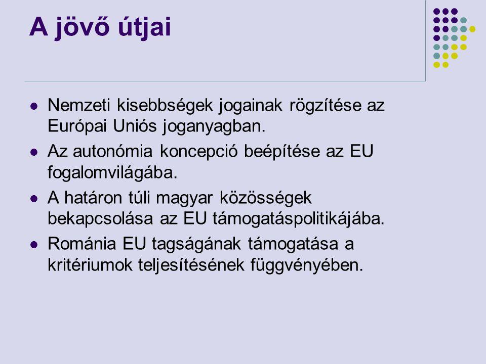 A jövő útjai Nemzeti kisebbségek jogainak rögzítése az Európai Uniós joganyagban.