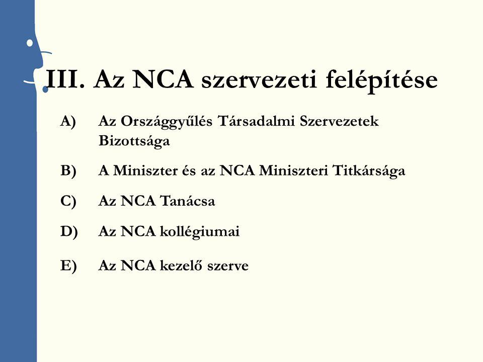 III.Az NCA szervezeti felépítése E)Az NCA kezelő szerve A)Az Országgyűlés Társadalmi Szervezetek Bizottsága B)A Miniszter és az NCA Miniszteri Titkársága C)Az NCA Tanácsa D)Az NCA kollégiumai