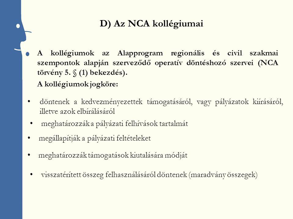A kollégiumok az Alapprogram regionális és civil szakmai szempontok alapján szerveződő operatív döntéshozó szervei (NCA törvény 5.