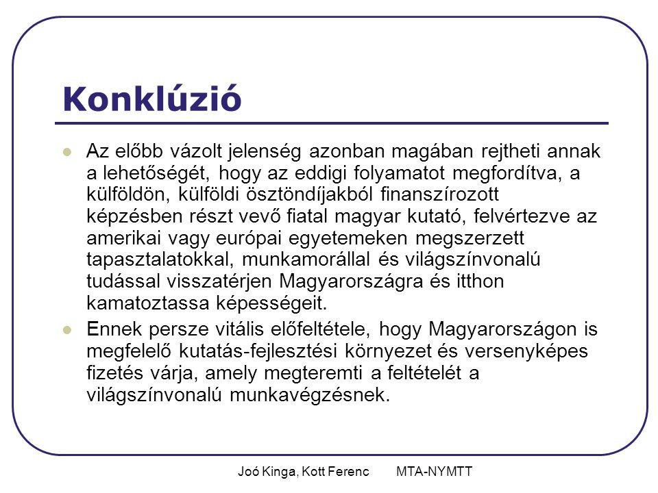 Joó Kinga, Kott Ferenc MTA-NYMTT Konklúzió Az előbb vázolt jelenség azonban magában rejtheti annak a lehetőségét, hogy az eddigi folyamatot megfordítva, a külföldön, külföldi ösztöndíjakból finanszírozott képzésben részt vevő fiatal magyar kutató, felvértezve az amerikai vagy európai egyetemeken megszerzett tapasztalatokkal, munkamorállal és világszínvonalú tudással visszatérjen Magyarországra és itthon kamatoztassa képességeit.