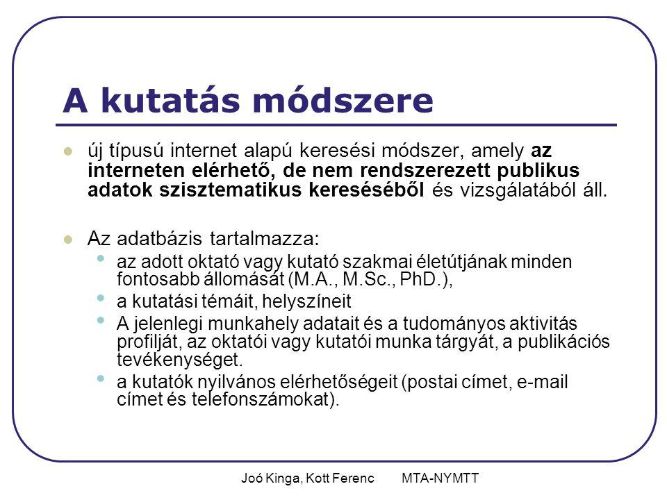 Joó Kinga, Kott Ferenc MTA-NYMTT A kutatás módszere új típusú internet alapú keresési módszer, amely az interneten elérhető, de nem rendszerezett publikus adatok szisztematikus kereséséből és vizsgálatából áll.