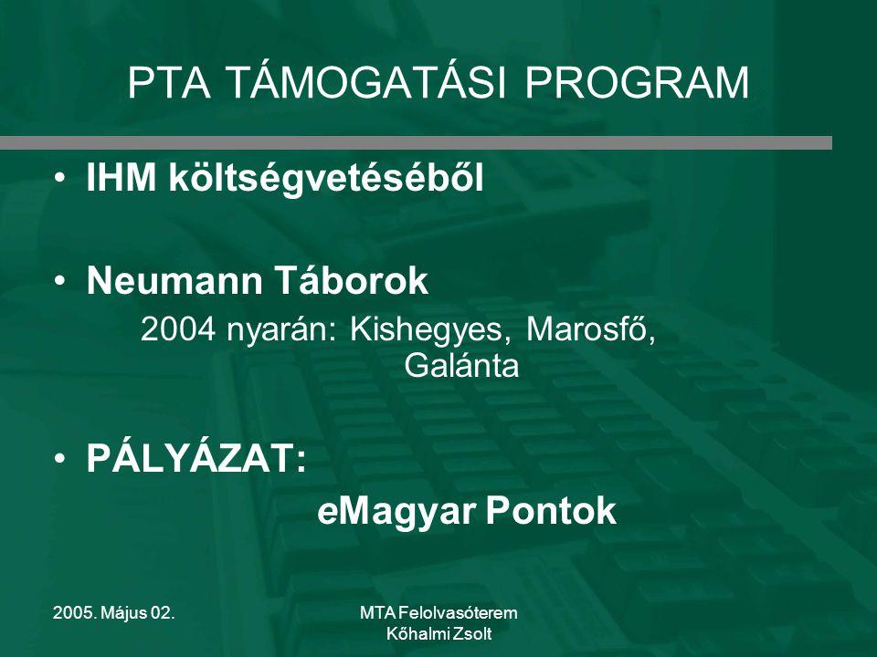 2005. Május 02.MTA Felolvasóterem Kőhalmi Zsolt NEUMANN TÁBOROK