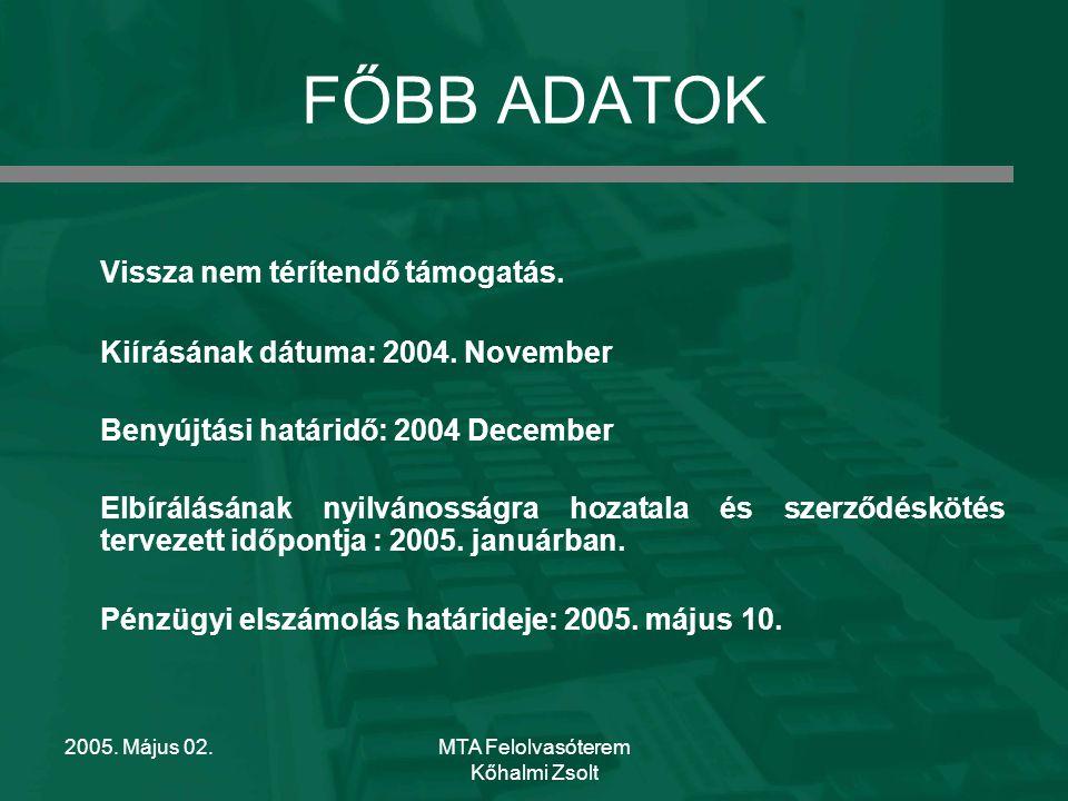 2005. Május 02.MTA Felolvasóterem Kőhalmi Zsolt FŐBB ADATOK Vissza nem térítendő támogatás.