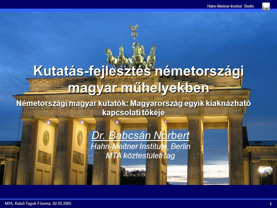 Hahn-Meitner-Institut Berlin 12 MTA, Külső Tagok Fóruma, 02.05.2005 Együttműködést javító lépések magyar részről 1.Németországi magyar kutatók szervezetének létrehozása és működésének támogatása az NKTH (honlap szerver helye) és a Berlini Magyar Nagykövetség (éves konferencia helyszíne Berlinben) részéről.