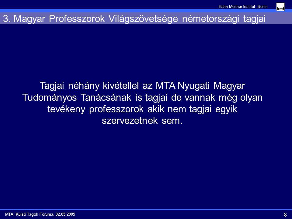Hahn-Meitner-Institut Berlin 8 MTA, Külső Tagok Fóruma, 02.05.2005 3.