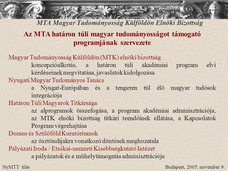 MTA Magyar Tudományosság Külföldön Elnöki Bizottság MTA határon túli köztestület Az MTA – kultúrnemzeti megfontolás alapján – 2000 tavasza óta a magukat magyarnak (is) tartó, tudományos fokozattal rendelkező kutatóknak felajánlotta azt a lehetőséget, hogy belépjenek az Akadémia köztestületébe, mely az 1994.