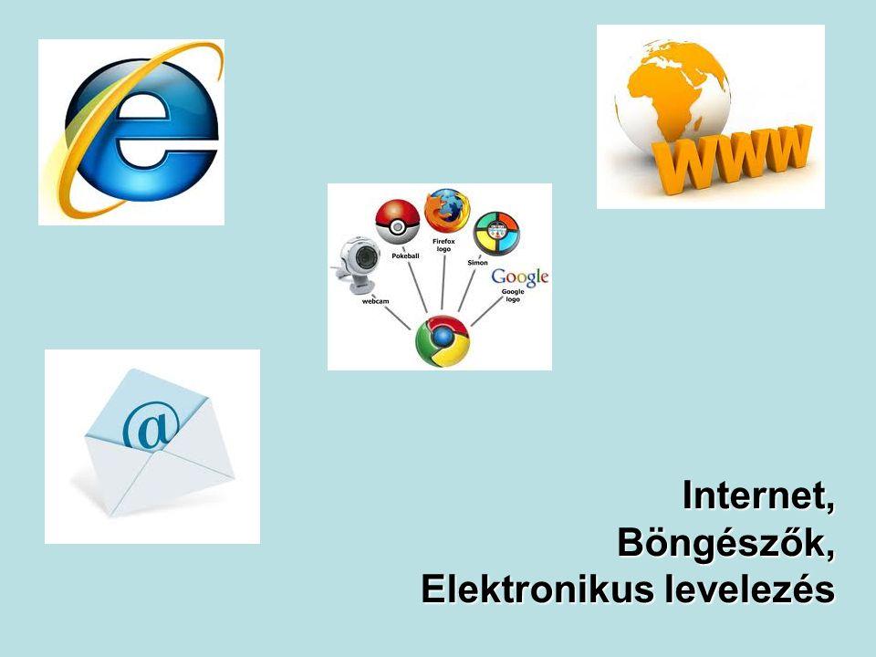 Internet Világméretű számítógépes hálózat Kapcsolódás feltétele: Eszköz: Számítógép Mobiltelefon PDA, … Program (Böngésző): Internet Explorer Mozzilla Firefox Google Chrome Kapcsolat: Vezetékes Vezeték nélküli: Wi-fi, MobilInternet, Mikrohullámú, … (legtöbb esetben előfizetés) 2