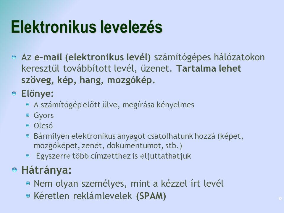Postafiók létrehozása Pl.: kovacsbela@freemail.hu AZONOSÍTÓ: ez lesz az e-mail címünk eleje, vagyis a felhasználónevünk.