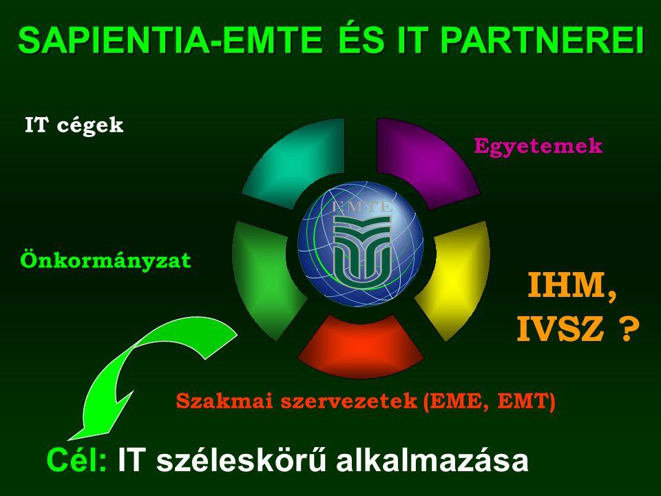 SAPIENTIA-EMTE ÉS IT PARTNEREI Szakmai szervezetek (EME, EMT) IT cégek Önkormányzat IHM, IVSZ .