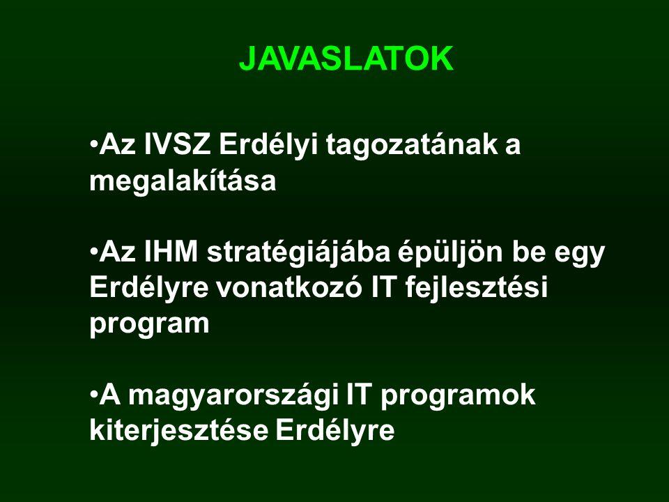 JAVASLATOK Az IVSZ Erdélyi tagozatának a megalakítása Az IHM stratégiájába épüljön be egy Erdélyre vonatkozó IT fejlesztési program A magyarországi IT programok kiterjesztése Erdélyre