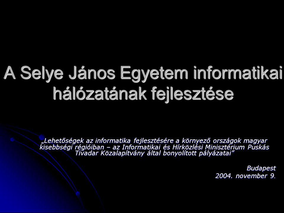 Jelenlegi helyzet 2 szerver: 2 szerver:  domain (Microsoft 2003) domain szerver, fájlszerver, printszerver, DNS, DHCP  mailszerver (Debian Linux) Lokális hálózat létesítése a SJE két épülete között: Lokális hálózat létesítése a SJE két épülete között: az egyetem főépülete és a Sirály diákkollégiium között az egyetem főépülete és a Sirály diákkollégiium között 2 infoterem üzemeltetése 2 infoterem üzemeltetése jelenleg 100 személyi számítógép jelenleg 100 személyi számítógép