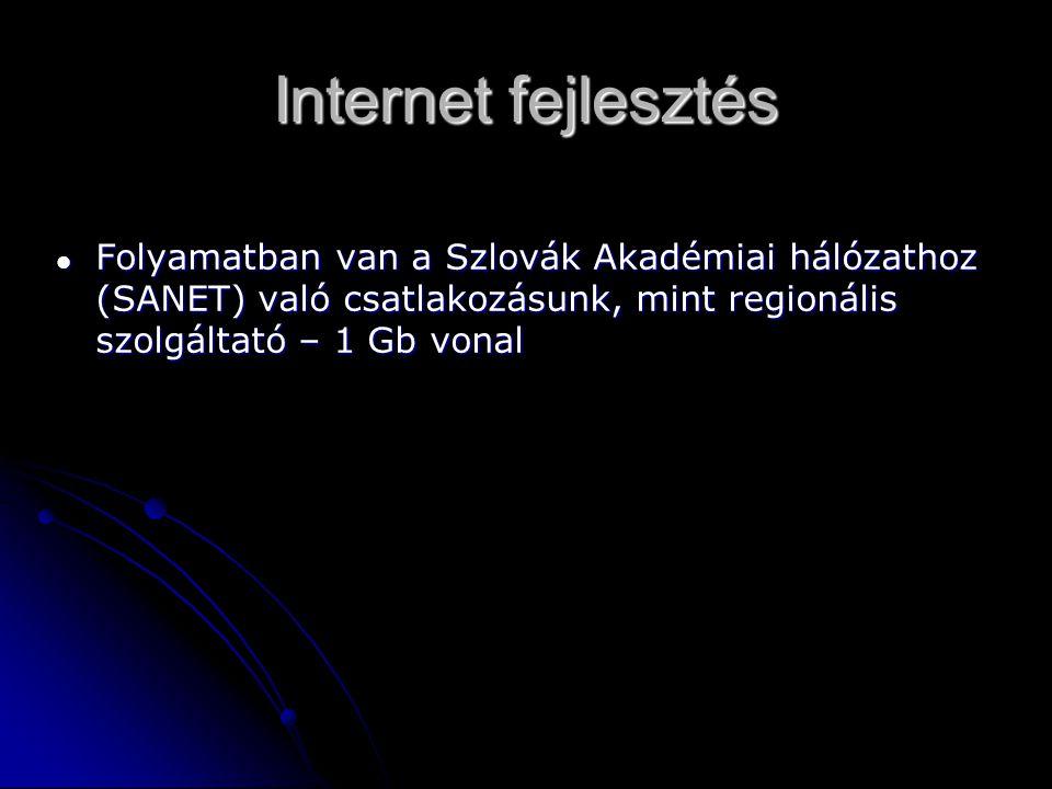 Internet fejlesztés Folyamatban van a Szlovák Akadémiai hálózathoz (SANET) való csatlakozásunk, mint regionális szolgáltató – 1 Gb vonal Folyamatban van a Szlovák Akadémiai hálózathoz (SANET) való csatlakozásunk, mint regionális szolgáltató – 1 Gb vonal