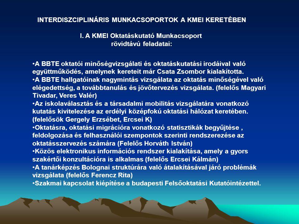 INTERDISZCIPLINÁRIS MUNKACSOPORTOK A KMEI KERETÉBEN I.