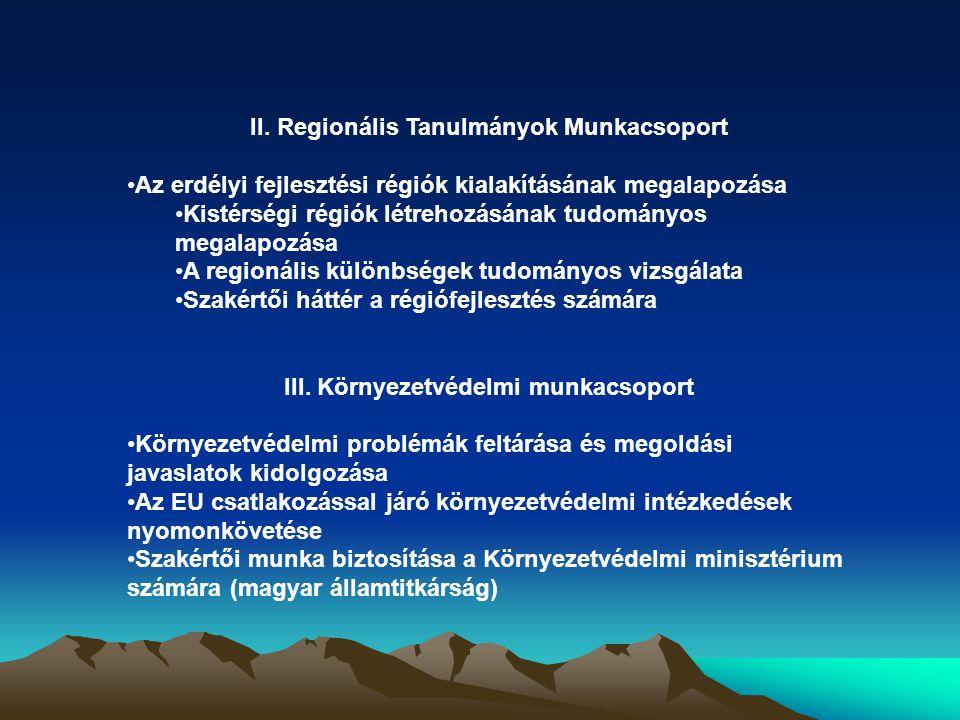 II. Regionális Tanulmányok Munkacsoport Az erdélyi fejlesztési régiók kialakításának megalapozása Kistérségi régiók létrehozásának tudományos megalapo