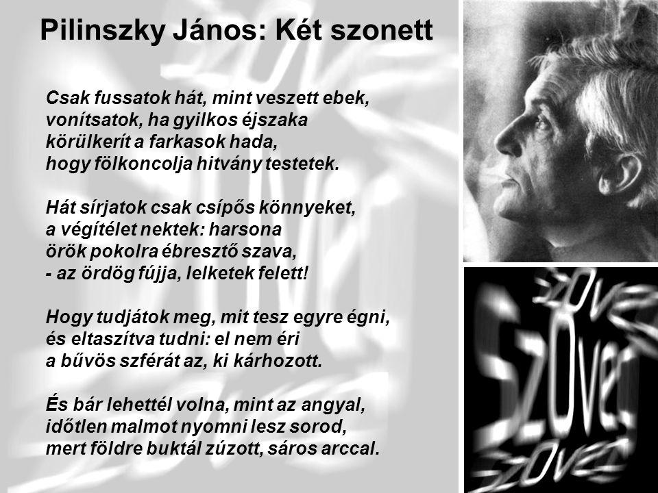 6 Pilinszky János: Két szonett Csak fussatok hát, mint veszett ebek, vonítsatok, ha gyilkos éjszaka