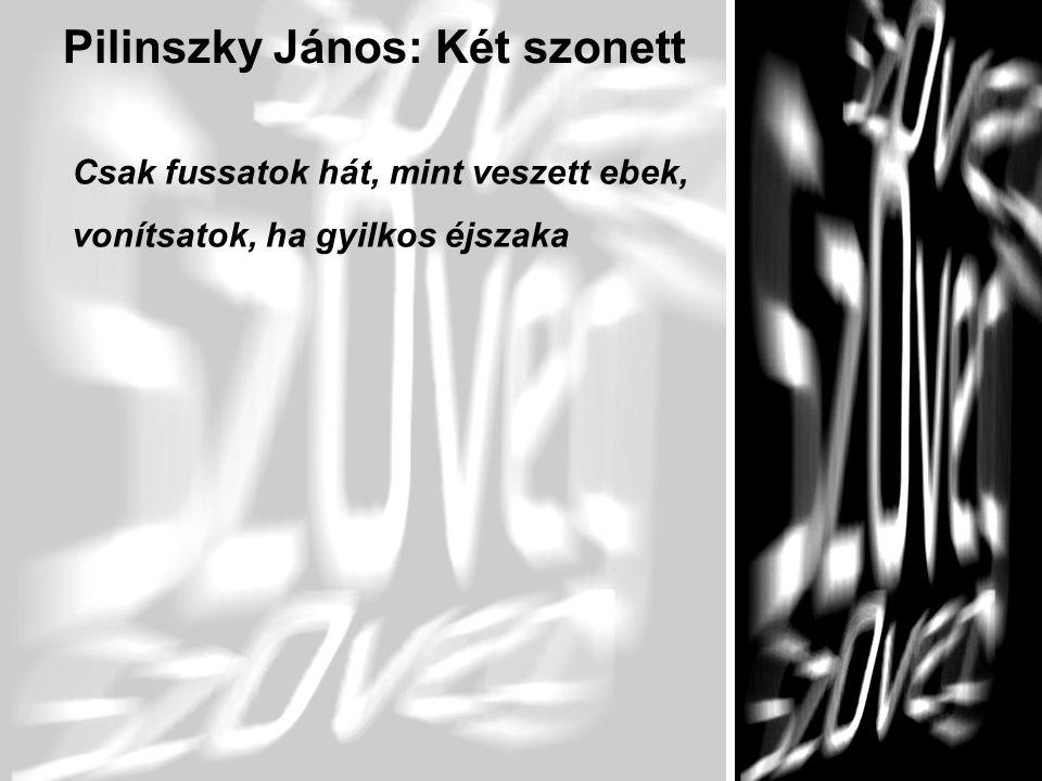 7 Pilinszky János: Két szonett Csak fussatok hát, mint veszett ebek, vonítsatok, ha gyilkos éjszaka