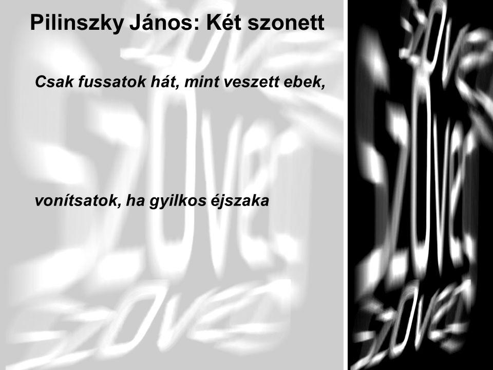 9 Pilinszky János: Két szonett Csak fussatok hát, mint veszett ebek, vonítsatok, ha gyilkos éjszaka
