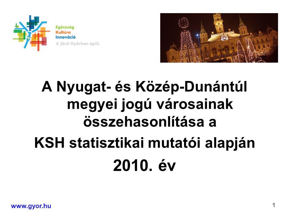 1 A Nyugat- és Közép-Dunántúl megyei jogú városainak összehasonlítása a KSH statisztikai mutatói alapján 2010.