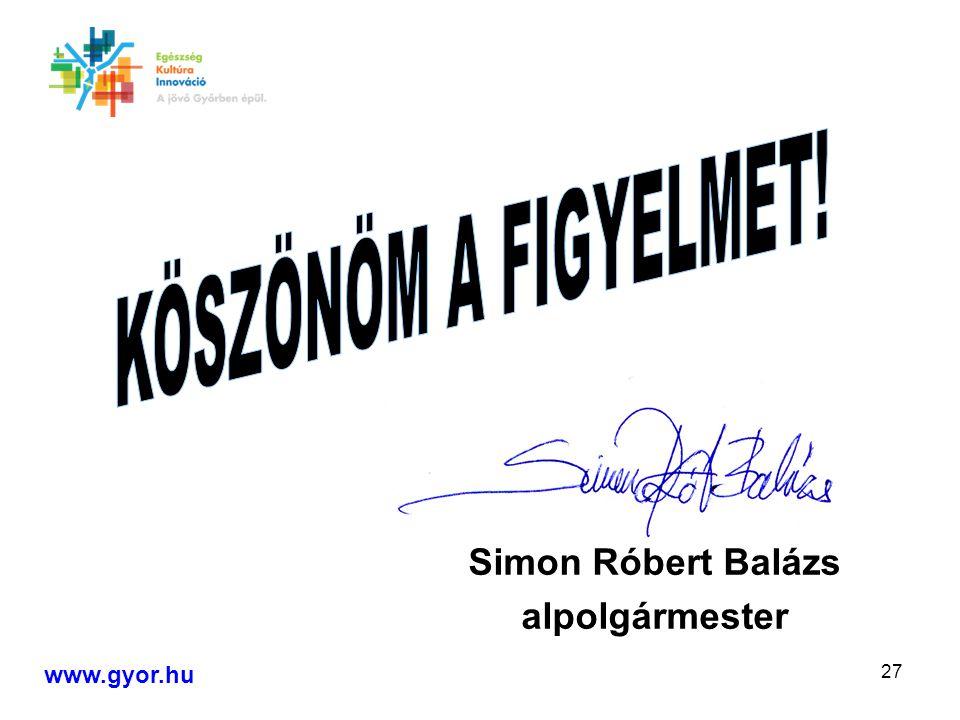 27 Simon Róbert Balázs alpolgármester www.gyor.hu