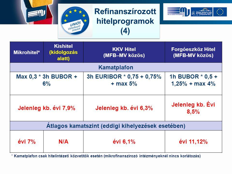 Refinanszírozott hitelprogramok (4) Refinanszírozott hitelprogramok (4) Mikrohitel* Kishitel (kidolgozás alatt) KKV Hitel (MFB–MV közös) Forgóeszköz Hitel (MFB-MV közös) Kamatplafon Max 0,3 * 3h BUBOR + 6% 3h EURIBOR * 0,75 + 0,75% + max 5% 1h BUBOR * 0,5 + 1,25% + max 4% Jelenleg kb.