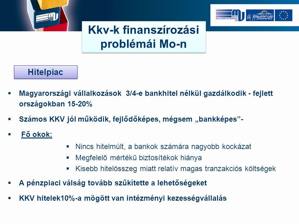 """ Magyarországi vállalkozások 3/4-e bankhitel nélkül gazdálkodik - fejlett országokban 15-20%  Számos KKV jól működik, fejlődőképes, mégsem """"bankképes -  Fő okok:  Nincs hitelmúlt, a bankok számára nagyobb kockázat  Megfelelő mértékű biztosítékok hiánya  Kisebb hitelösszeg miatt relatív magas tranzakciós költségek  A pénzpiaci válság tovább szűkítette a lehetőségeket  KKV hitelek10%-a mögött van intézményi kezességvállalás Kkv-k finanszírozási problémái Mo-n Hitelpiac"""