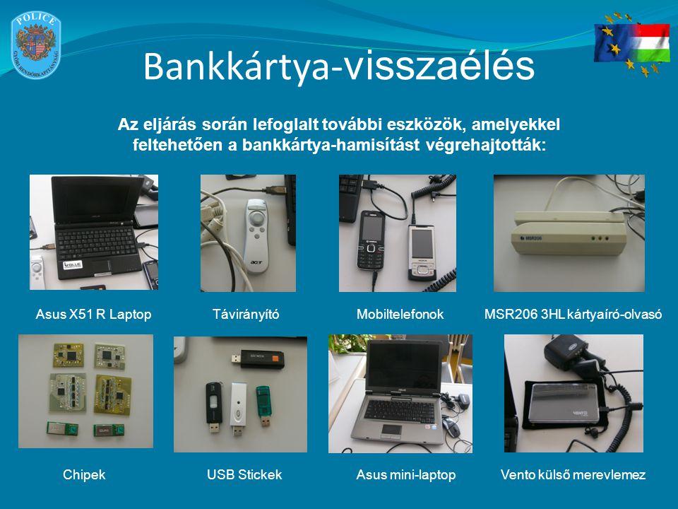 Bankkártya- visszaélés Az eljárás során lefoglalt további eszközök, amelyekkel feltehetően a bankkártya-hamisítást végrehajtották: Asus X51 R LaptopTávirányítóMobiltelefonokMSR206 3HL kártyaíró-olvasó USB StickekChipekAsus mini-laptopVento külső merevlemez