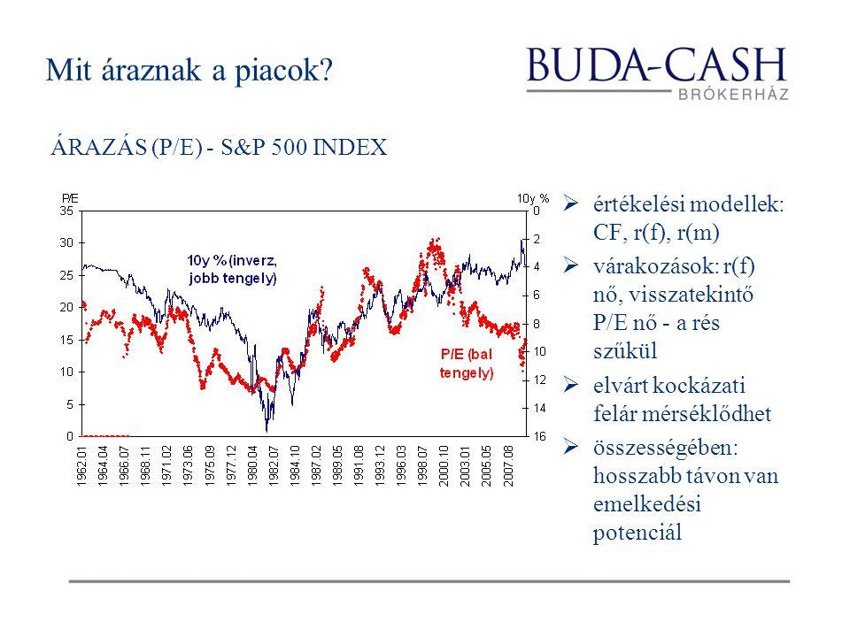 Mit áraznak a piacok? ÁRAZÁS (P/E) - S&P 500 INDEX  értékelési modellek: CF, r(f), r(m)  várakozások: r(f) nő, visszatekintő P/E nő - a rés szűkül 